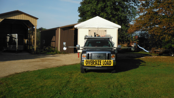 Storage Shed Moving With Truck And Trailer